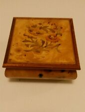 """Reuge Swiss Musical Jewelry Music Box (Disabled) Burl Wood Italy  5.25"""" x 5.25"""""""