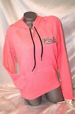 VICTORIA'S SECRET PINK HOODIE PERFECT PULLOVER SWEATSHIRT EMBROIDERED LOGO~ NWT