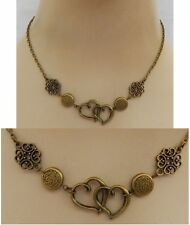 Gold Celtic Knot Double Heart Strand Necklace Jewelry Handmade NEW Fashion