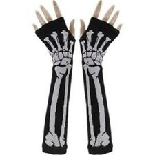 Unisex Fingerless Punk Rocker Black with White Skeleton Gloves Arm Warmers -New!