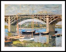 Claude Monet son pont d'Argenteuil poster image Art pression & cadre 60x80cm