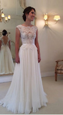 White ivory Lace Bridal Gown beach Wedding Dress Custom Size 6 8 10 12 14 16 18+