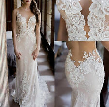 Gorgeous Design Lace Wedding Dress Beading Sheer Backless Mermaid Bridal Gown