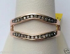 Rose Gold Solitaire Enhancer Champagne Chocolate Brown Diamonds Ring Guard Wrap