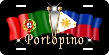 Philippine Portugese Flag License Plate Personalize Gifts Text Any Colors Black