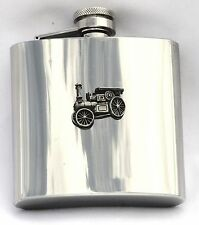Traction Engine Pewter Motif 6 oz Hip Flask Steam Rally Gift FREE ENGRAVING