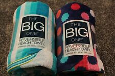 The Big One Reversible Beach Towel-Lot of 2!-3 ft x 6 ft-polka dots,blue/yellow
