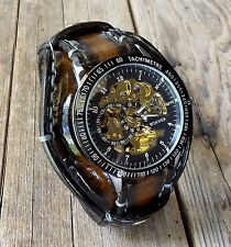 Steampunk watch, Leather watch band, Men's leather watch, Watch cuff, Brown