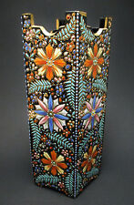 Beautiful Antique Bohemian Harrach or Moser Black Enameled Art Glass Vase Signed
