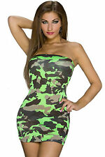 Mini Abito Aderente Nudo Trasparente Scollo Camouflage Mini club dress clubwear