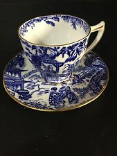 ROYAL CROWN DERBY CHINA BLUE MIKADO DEMITASSE CUP & SAUCER GOLD TRIM