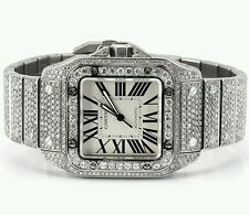 Cartier Santos 100XL Watch Fully Iced Out 26 Carat Diamonds Best Price ASAAR