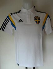 SWEDEN FOOTBALL WHITE POLO SHIRT BY ADIDAS ADULTS SIZE XL BRAND NEW WITH TAGS