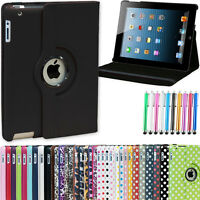 Leather 360 Degree Rotating Case Cover For iPad 2 New iPad 3 4 With Sleep Wake