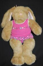 """BROWN BUNNY RABBIT PINK OUTFIT PLUSH STUFFED ANIMAL LOVEY TOY 16"""" BUILD A BEAR"""