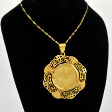 22K Old Turkey Gold Coin Set Within Fancy Handmade 21k Solid Gold Bezel Pendan