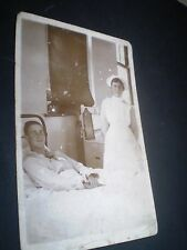 SOCIAL HISTORY 1920's good looking man hospital bed nurse rp photo postcard
