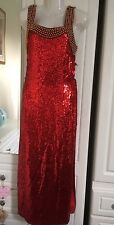 Classic Woman Red Sequin Full Length Party Prom Dress Size 10