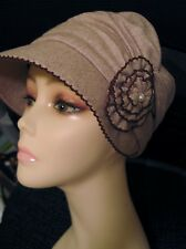 AMICI Accessories Tan Brown Cloche Hat w Floral Pearl One Size Deco Wool Blend