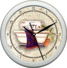 Personalized Tub Time 5 Red Blue an& Beige Wall Clock Bathroom Decor gift
