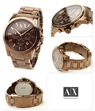 ARMANI EXCHANGE BROWN,BRONZE TONE S/STEEL+ROSE GOLD CHRONO+DATE WATCH AX2091+BOX