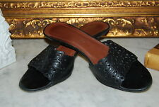 DONALD J PLINER BLACK LEATHER OPEN TOE SLIP ON WOMEN'S SANDALS SHOES SIZE 9 M