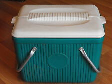 Old VTG Poloron Products Green Unique Rare Aluminum Handle HD Cooler Ice Chest
