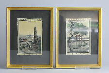 Nice Quality! ca 1930-1940 Woven Painted Tableaux Tisse Chinese Pagoda Framed