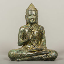 Southeast Asia Antique Style Bronze Seated Teaching Buddha Statue - 20cm / 8""