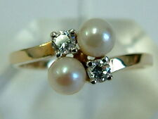 PRETTY 9CT YELLOW GOLD LADIES ART DECO LOOK PEARL CLEAR GEM CROSSOVER RING