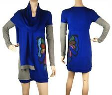 ConMiGo DA110 butterfly sequence embroidery blue jumper with scarf