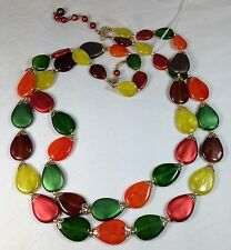 Vintage Plastic Bead Necklace Double Strand Teardrop Shape Autumn Multicolor