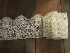 ANTIQUE VICTORIAN MALTESE LACE FLOUNCE 12cm x 227cm