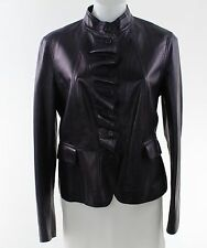 Escada Egg Plant Purple Leather Ruffled Button Front Jacket Size 40/6