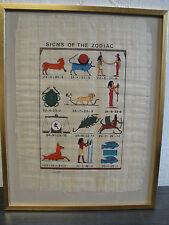 Schönes Papyrus Ägypten  Sicns of the Zodiac Alphabet fertig gerahmt
