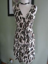 Dorothy Perkins Black Brown Leopard Sleeveless Dress Size 8