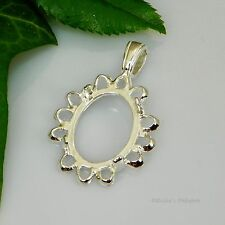 20x15 Oval Cameo Cabochon (Cab) Sterling Silver Pendant Setting (LRG BAIL)