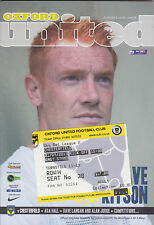 Football Programme plus Match Ticket OXFORD UNITED v CHESTERFIELD Sept 2013