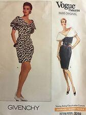 VOGUE 2250 Sewing Pattern Size 6-8-10 Givenchy Designer Dress Vintage 1989