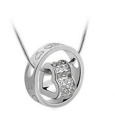 Fashion Women Heart Clear Crystal Charm Pendant Chain Necklace Silver color BT01
