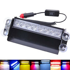 8 LED White Amber Emergency Vehicle Car Strobe Flash Light Dash Warning Hot Sell