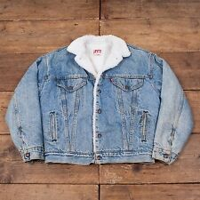 "Mens Vintage 80s Levis Sherpa Fur Lined Denim Trucker Jacket Blue M 42"" R4678"