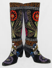 ARTEMIS / Demir Cuban Style - Black Velvet Embroidered Tall Boots sz 38 / 8 *NEW