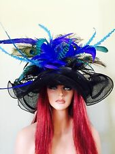 Black Royal Turquoise Peacock Feathers Wide Brim Sinamay Hat-Kentucky Derby-Race