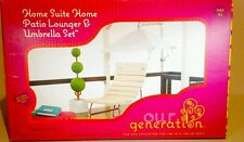 """Our generation patio lounger & umbrella set ( 18"""" doll)"""