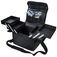 210D Pro Black Soft Side Makeup Train Bag Case Artist Cosmetic Organizer Bo