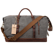S-ZONE Mens Canvas Leather Holdall Travel Duffle Overnight Weekend Satchel Totes