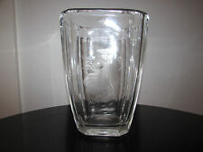ORREFORS NILS LANDBERG ENGRAVED WOMAN LEAVES CRYSTAL ART VASE SIGNED SWEDEN