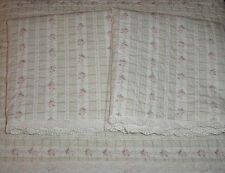 Chic Vintage Victorian Queen Green Quilt & Shabby Shams Pink Roses & Eyelet Trim