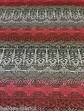 Polyester Elastane Wine Tribal Aztec Jersey Stretch Dressmaking Lycra Fabric